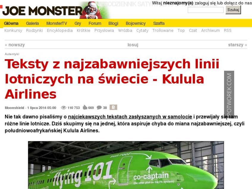 Teksty Z Najzabawniejszych Linii Lotniczych Na świecie